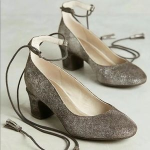 Anthropologie pachuca pumps lace up pewter suede